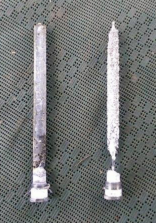 LEFT, hot water anode from van using DELTA RV and RIGHT, anode from van without.